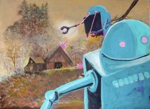 Blue Robots Assail the Farmhouse