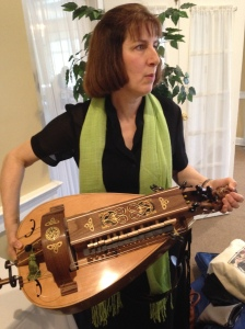 Leah Trent holds her beautiful vielle/hurdy-gurdy